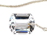 White Topaz Emerald Cut Solitaire Necklace