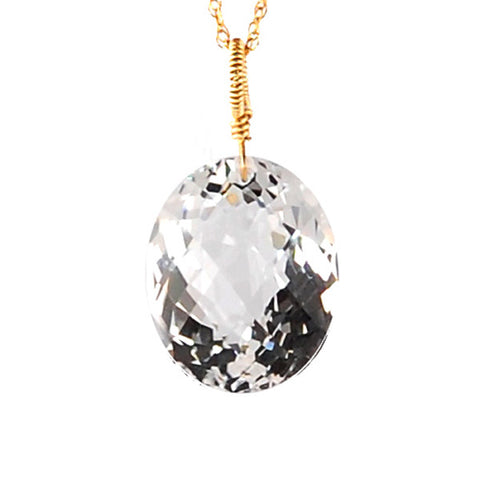 White Topaz Oval Cut Solitaire Necklace