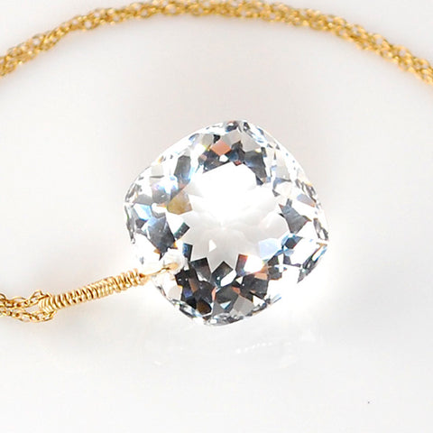 White Topaz Cushion Cut Solitaire Necklace
