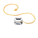 White Topaz Emerald Cut Solitaie Necklace