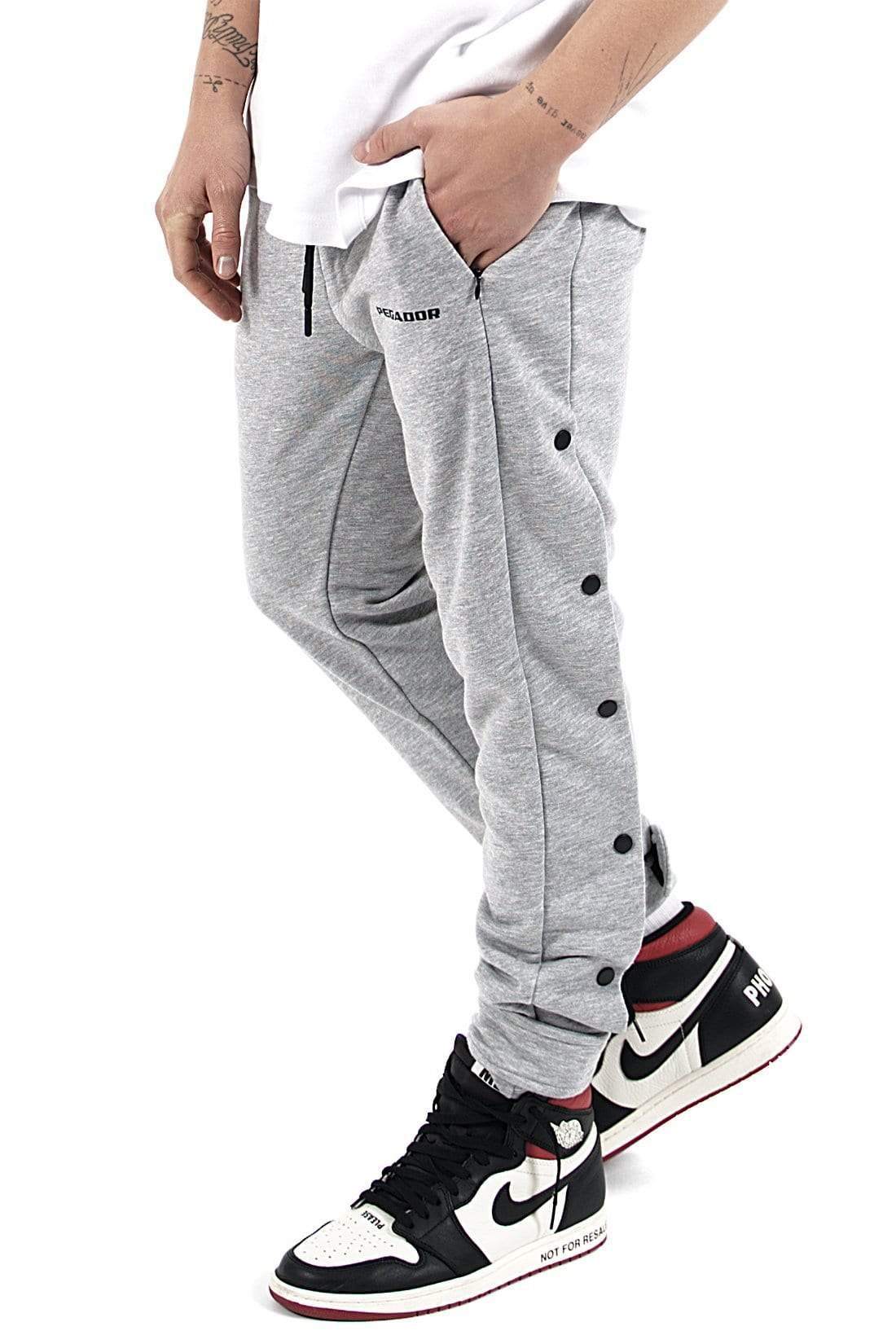 Waco Button Sweat Pants Melange Grey