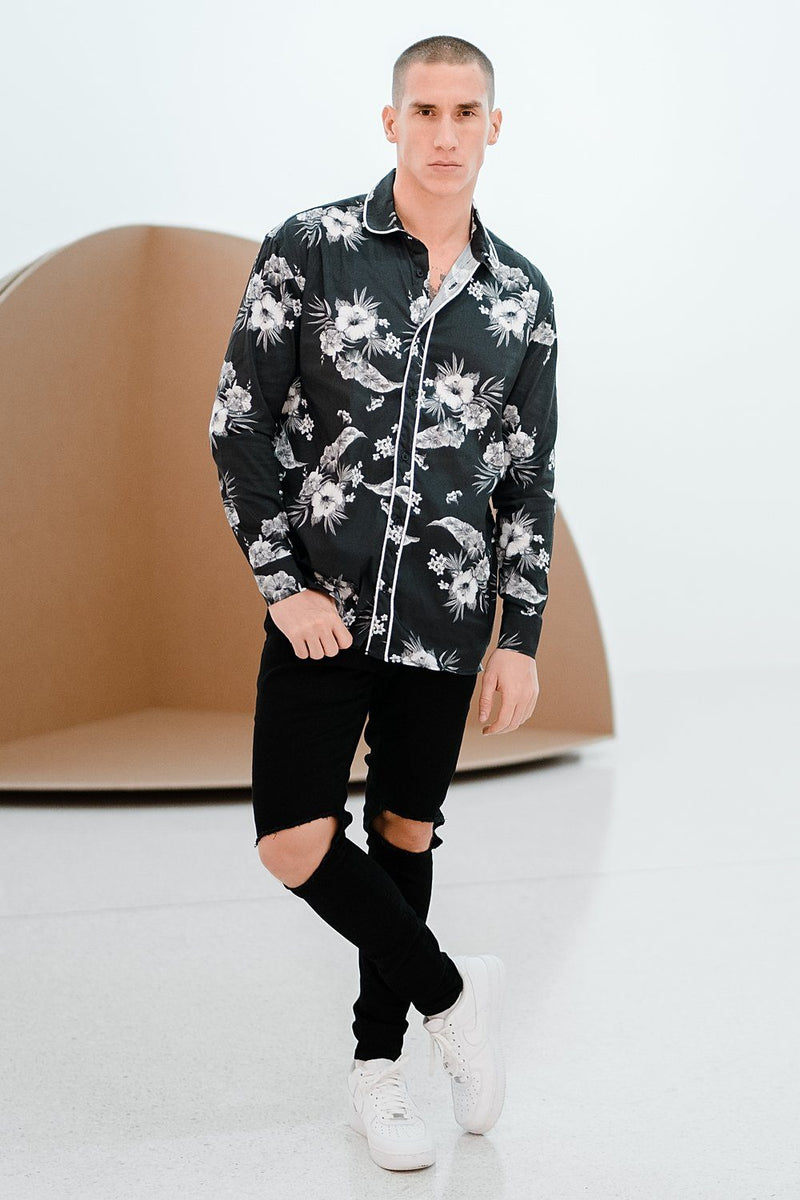 Dijon Flower Shirt Black - PEGADOR - Dominate the Hype