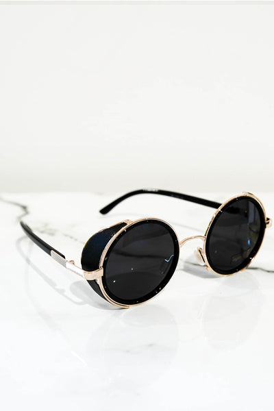 Steampunk sunglasses gold With dark lens