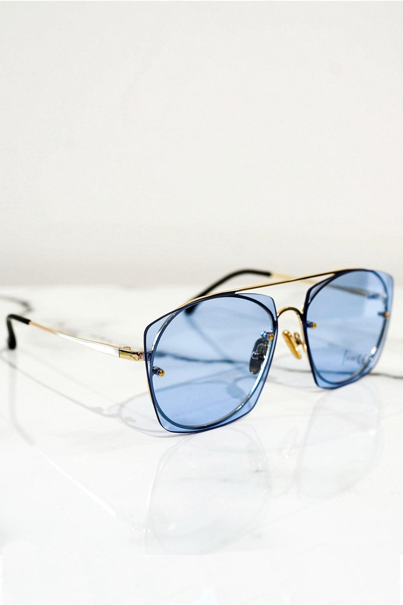 Aviator sunglasses gold With blue lens - PEGADOR - Dominate the Hype