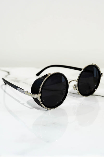 Steampunk sunglasses silver With dark lens