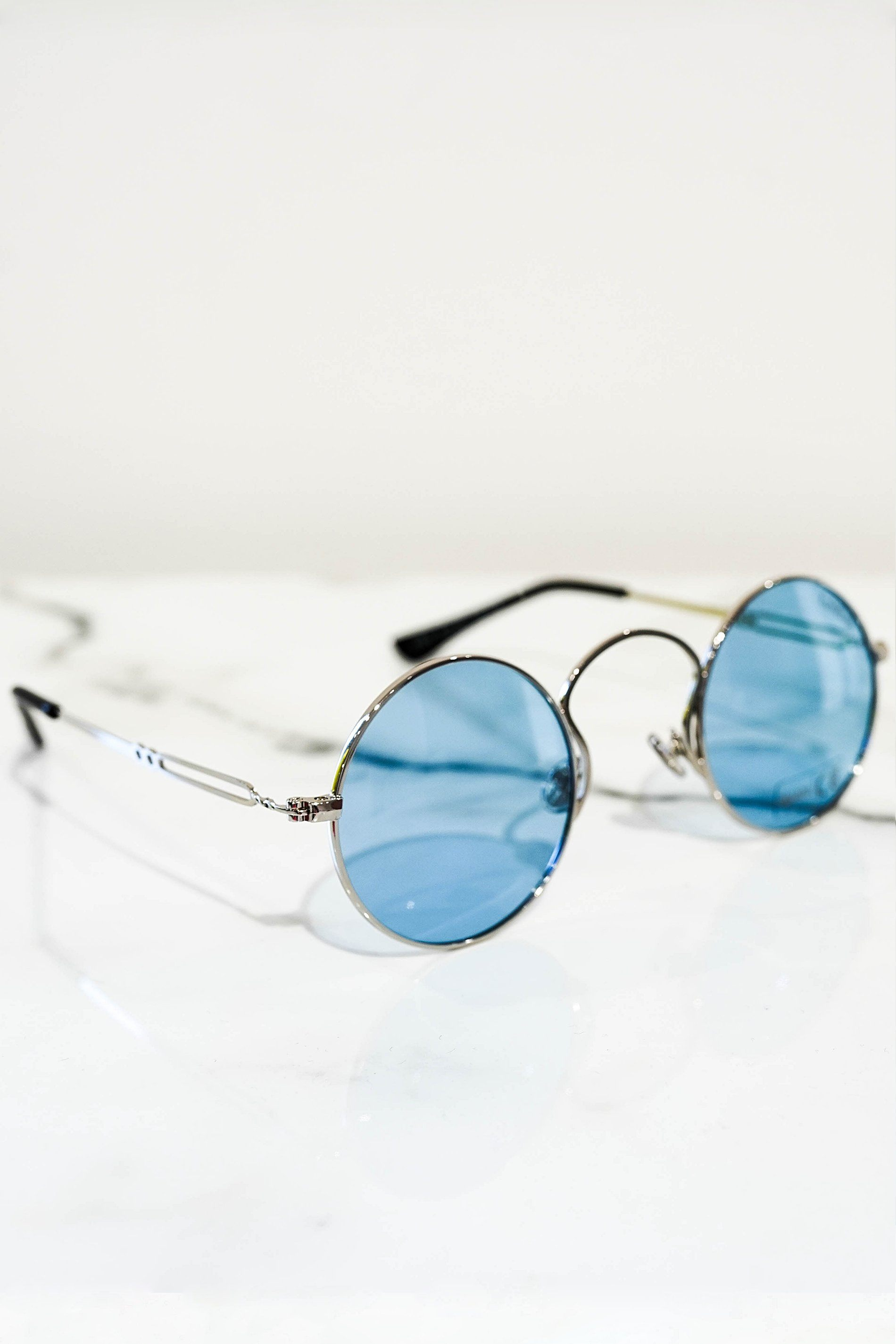 Retro sunglasses silver With blue lens