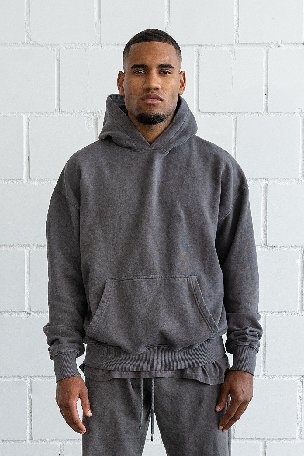 Heavy Oversized Hoodie Washed Grey Hoodies PEGADOR
