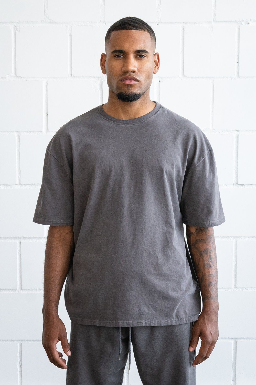Basic Oversized Tee Washed Grey T-SHIRT PEGADOR