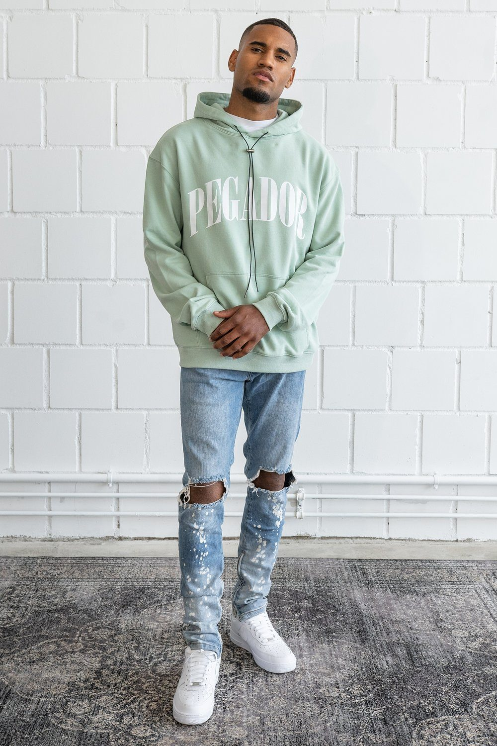 Cali Oversized Hoodie Washed Mint Hoodies PEGADOR
