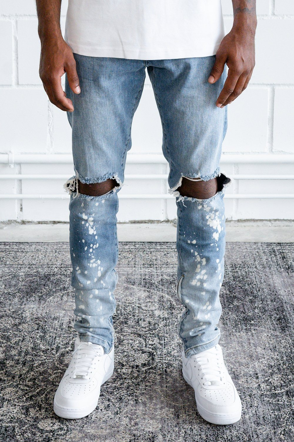 Luz Distressed Dip Jeans Washed Light Blue