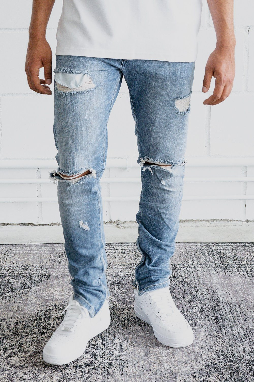Mitu Distressed Jeans Sand Washed Blue Jeans PEGADOR