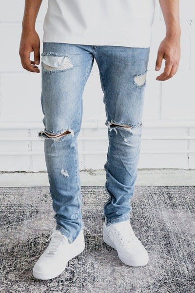 Mitu Distressed Jeans Sand Washed Blue