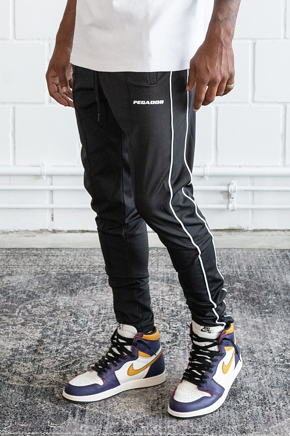 Dabo Stripe Track Pants Black
