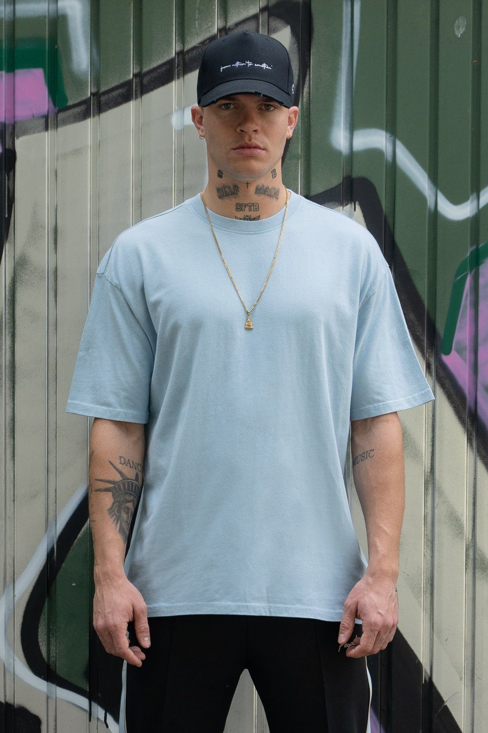 Oversized Tee Washed Baby Blue