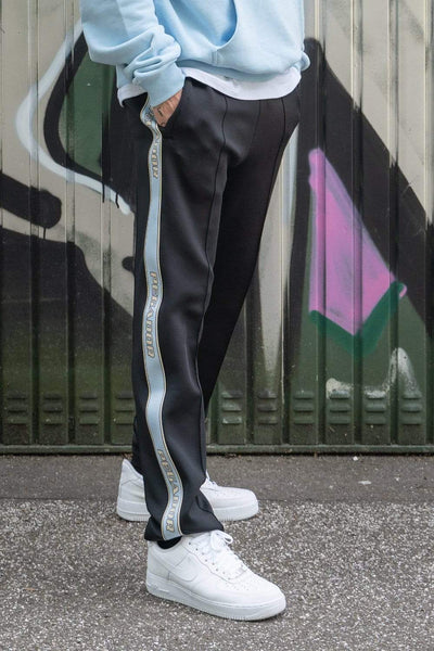 Wide Trackpants Black Baby Blue