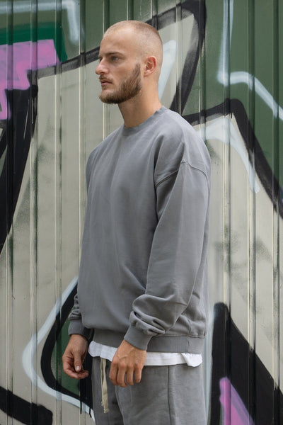 Heavy Oversized Sweater Washed Charcoal Grey