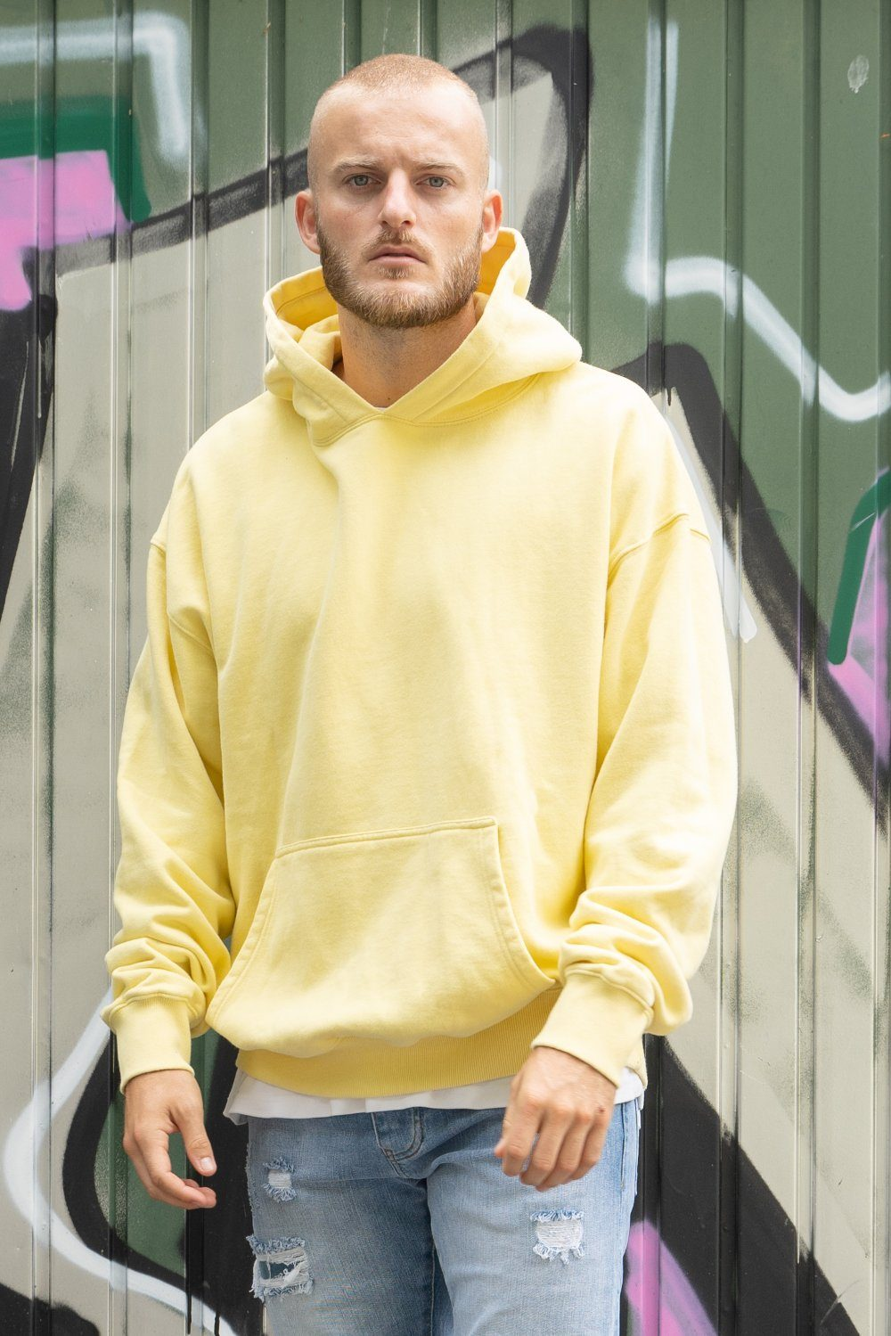 Heavy Oversized Hoodie Washed Lemon Hoodies PEGADOR