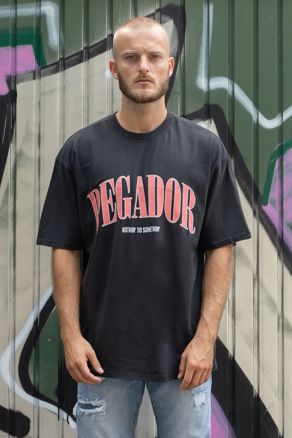 Cali Oversized Tee Washed Black Coral T-SHIRT PEGADOR