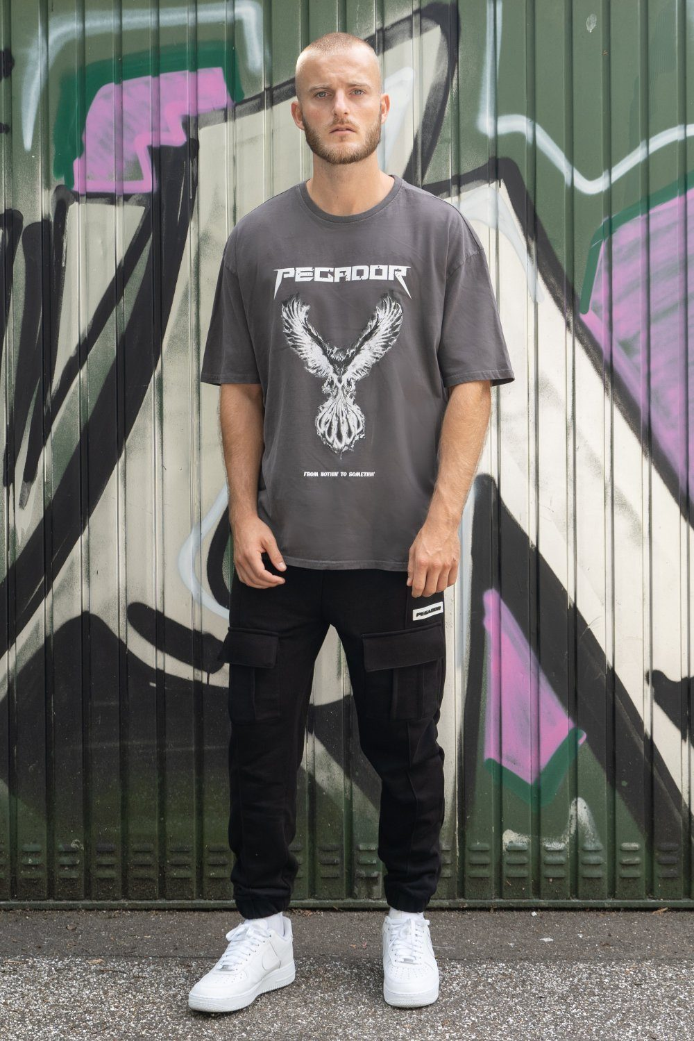 Phoenix Oversized Tee Washed Grey T-SHIRT PEGADOR