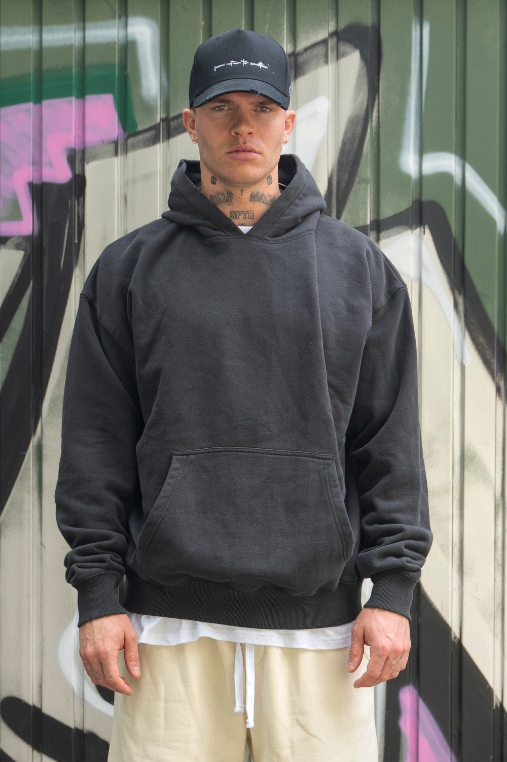 Heavy Oversized Hoodie Washed Black Hoodies PEGADOR