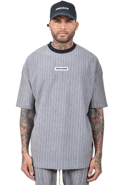 Geri Pinstripe T-Shirt Grey Melange - PEGADOR - Dominate the Hype