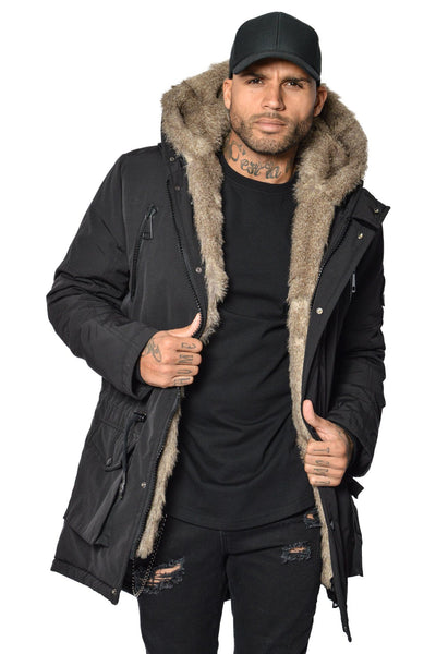 Arctic Parka Black & Brown Fur - PEGADOR - Dominate the Hype