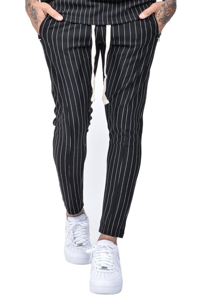 Clooney Pinstripe Pants Black - PEGADOR - Dominate the Hype
