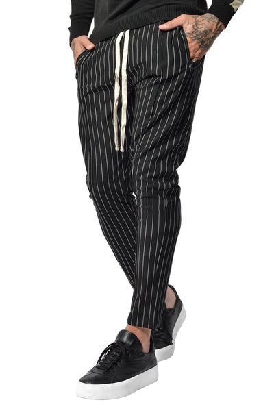 PEGADOR - Clooney Pinstripe Pants Black - PEGADOR - Dominate the Hype