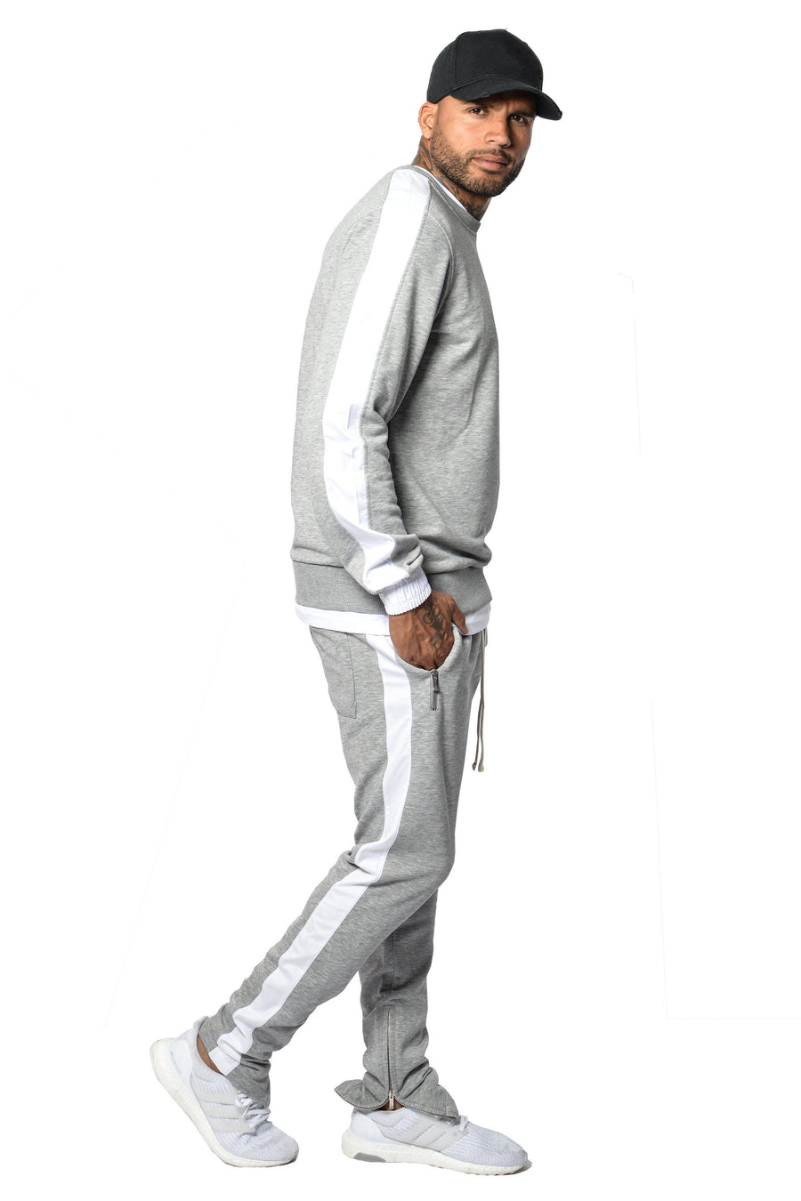 PEGADOR - Trevor Stripe Pants Grey Melange - PEGADOR - Dominate the Hype
