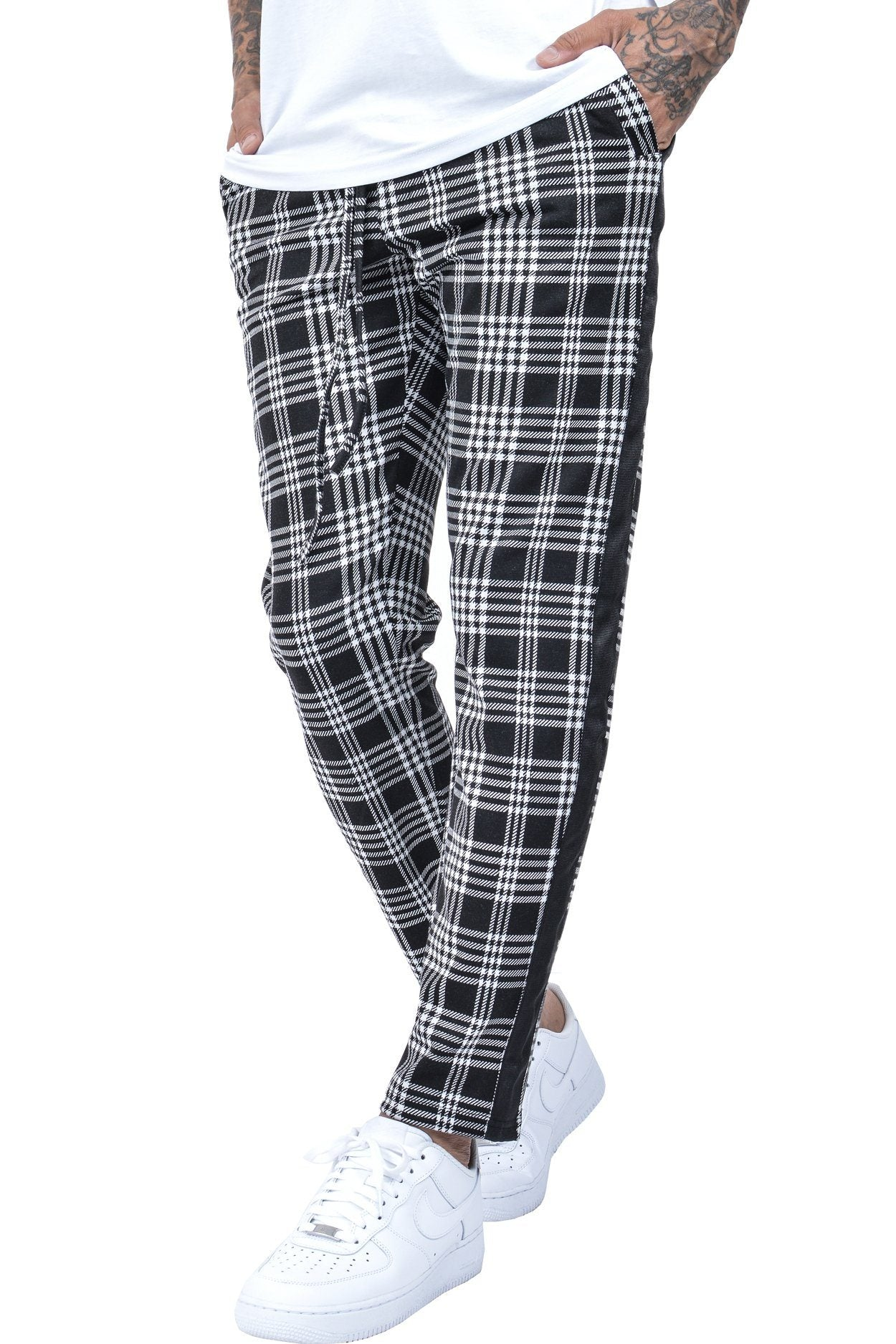 Luca Stripe Pants Black White