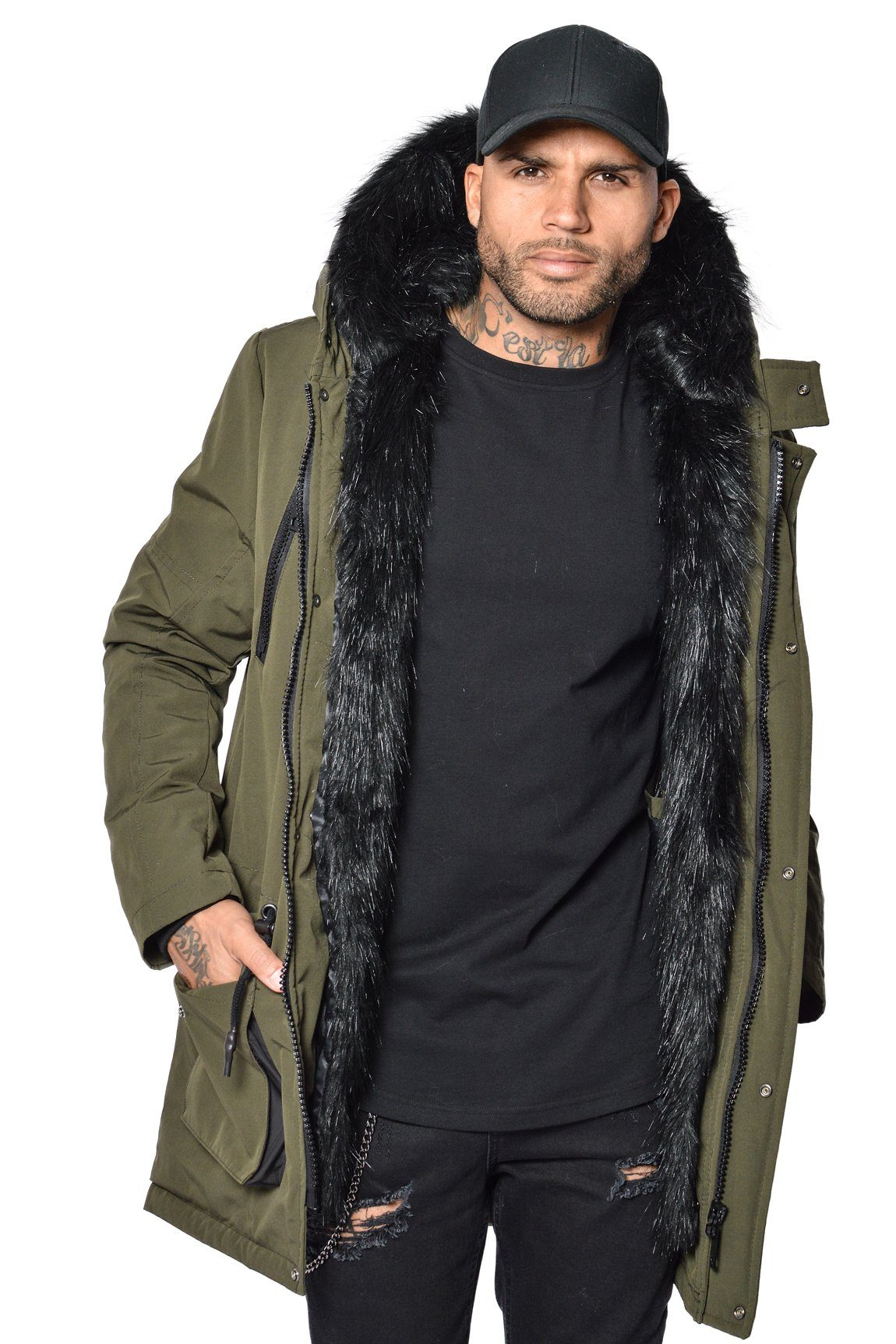 Arctic Parka Olive & Black Fur - PEGADOR - Dominate the Hype