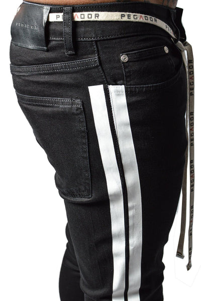 Bobson Destroyed Stripe Denim Black - PEGADOR - Dominate the Hype