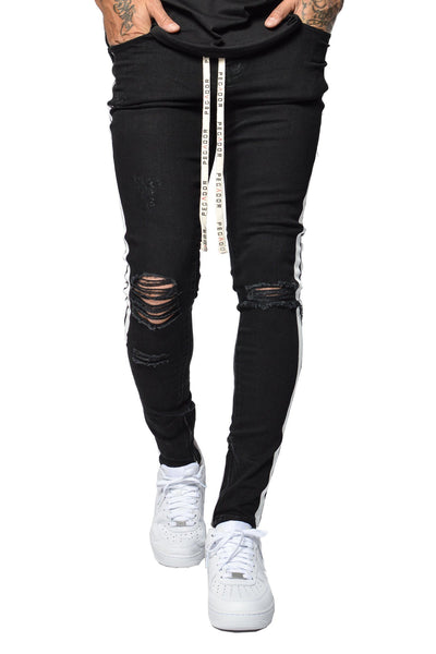 PEGADOR - Bobson Destroyed Stripe Denim Black - PEGADOR - Dominate the Hype