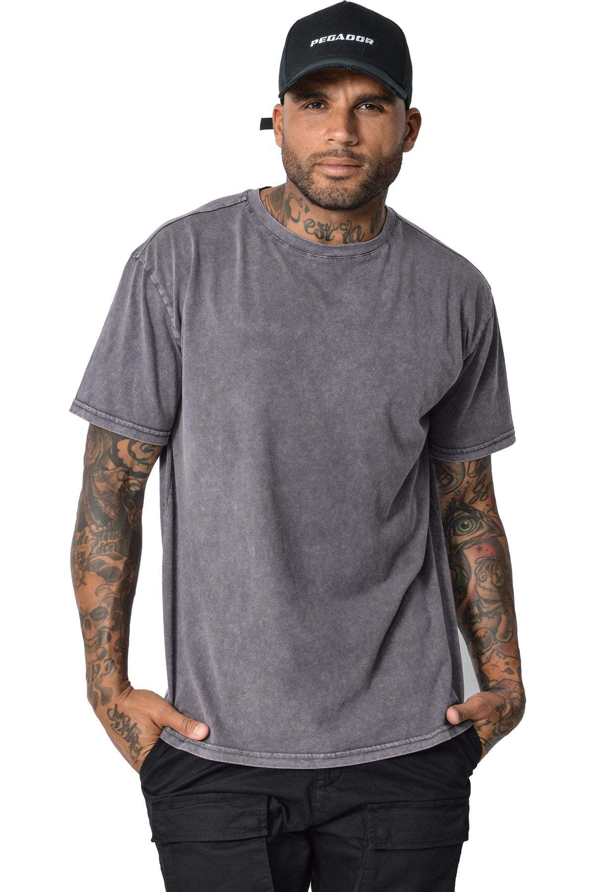 Basic T-Shirt Washed Grey T-Shirt PEGADOR