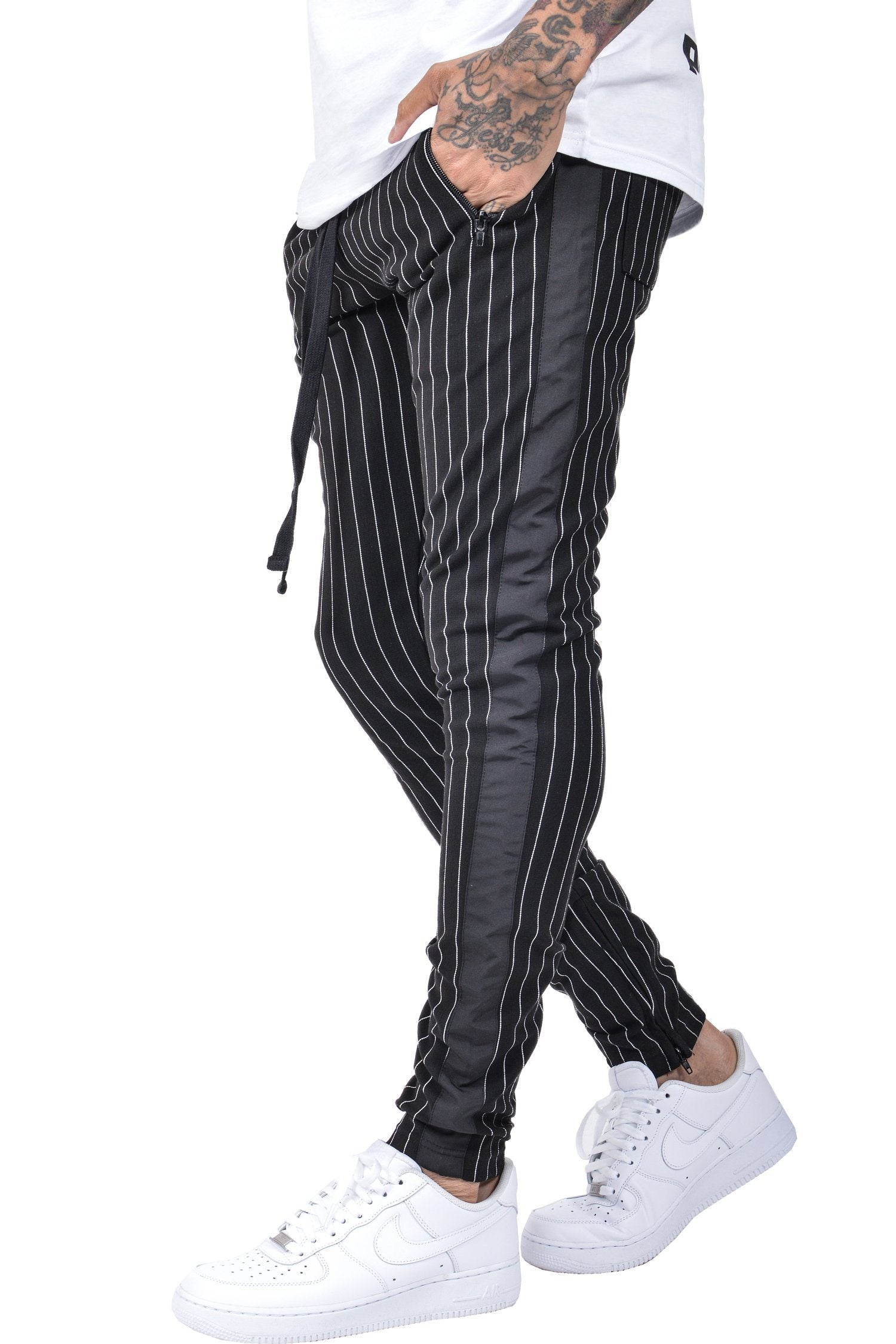 Benjamin Pinstripe Pants Black White