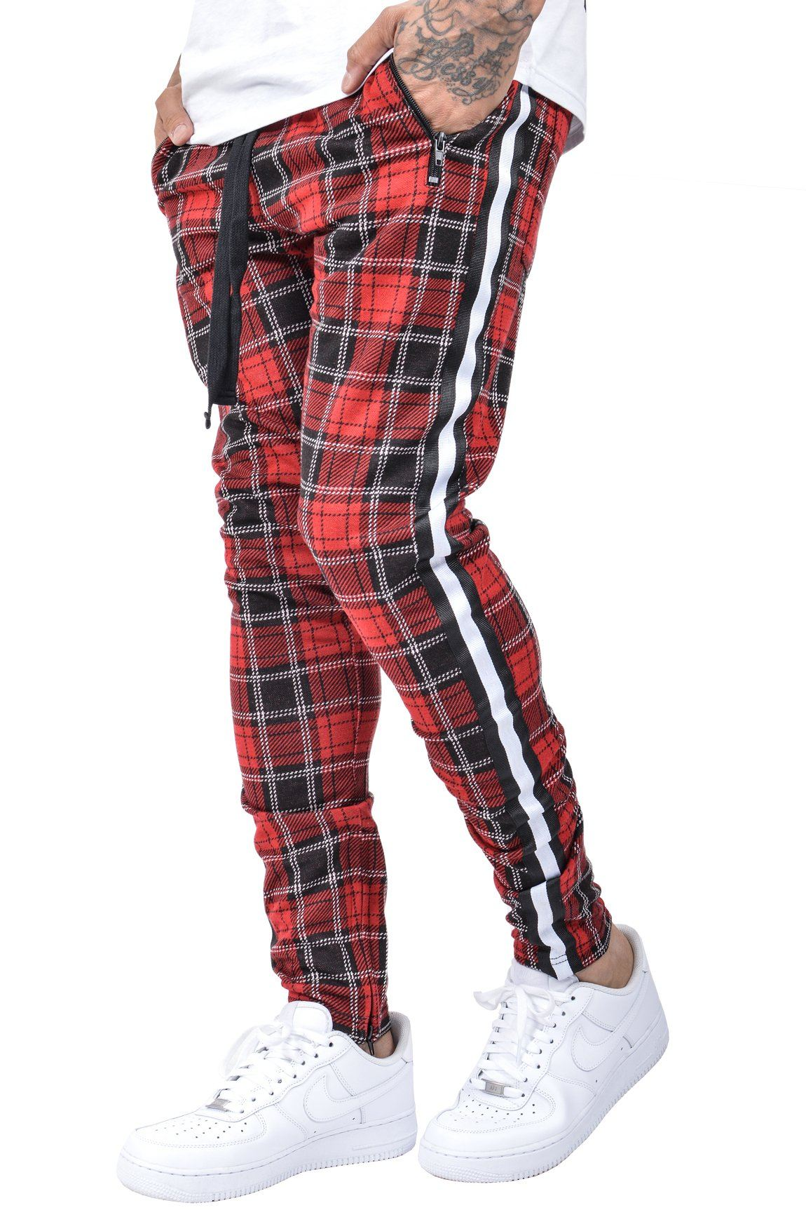 Benjamin Stripe Pants Checkered Red - PEGADOR - Dominate the Hype