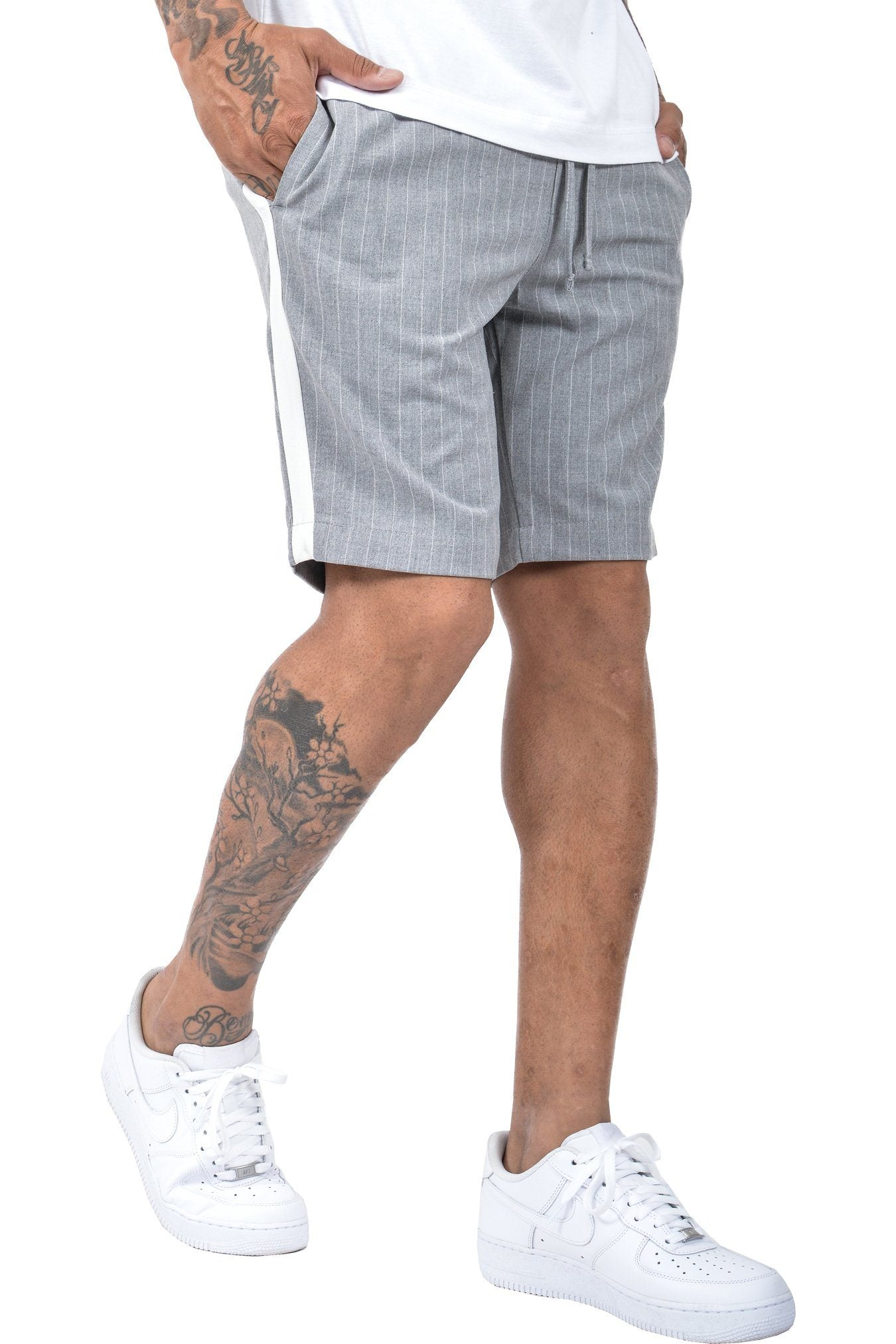Granada Pinstripe Shorts Grey White