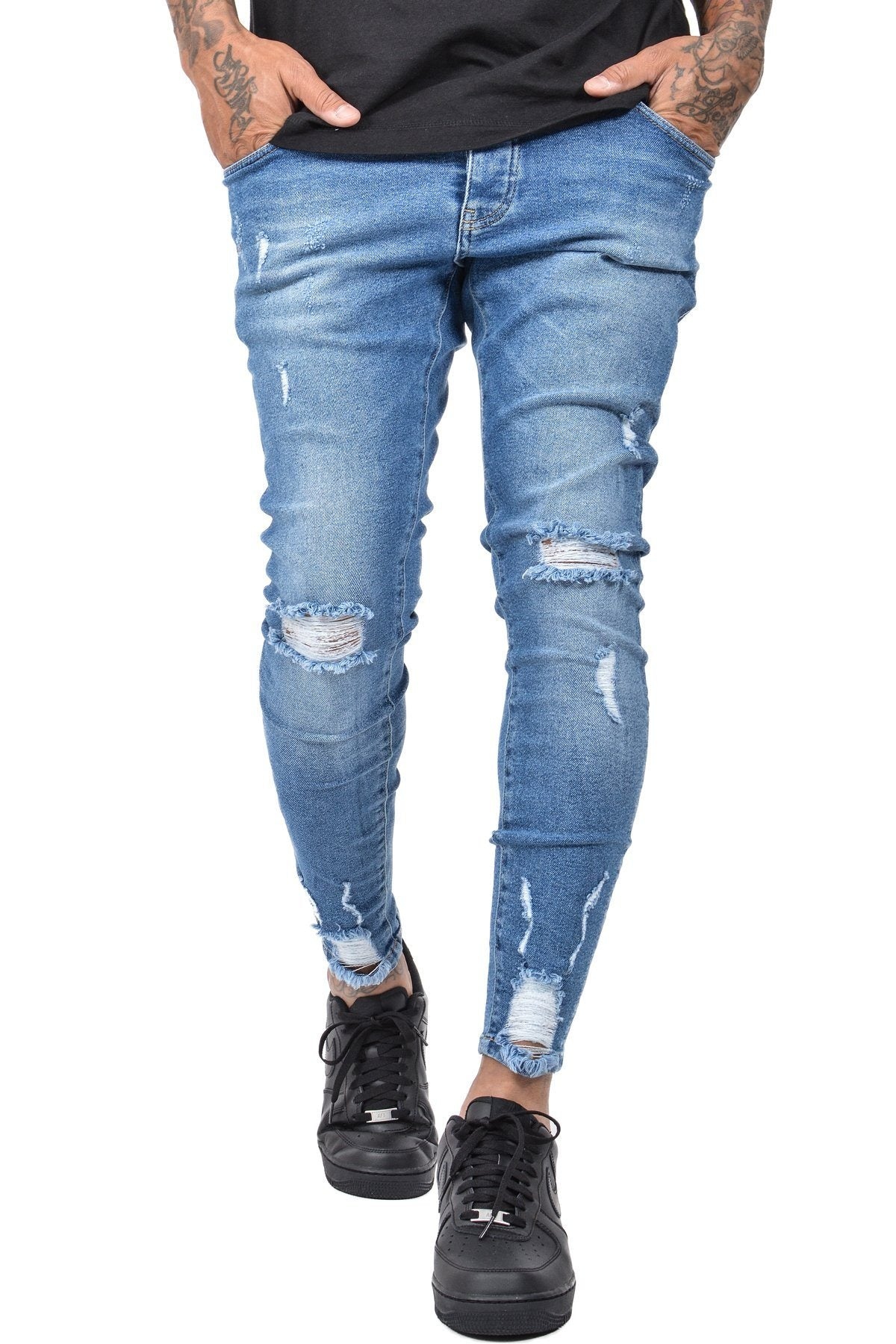 Sevilla Jeans Destroyed Mid Blue