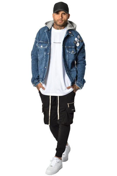 Johnson Hooded Denim Jacket Blue - PEGADOR - Dominate the Hype