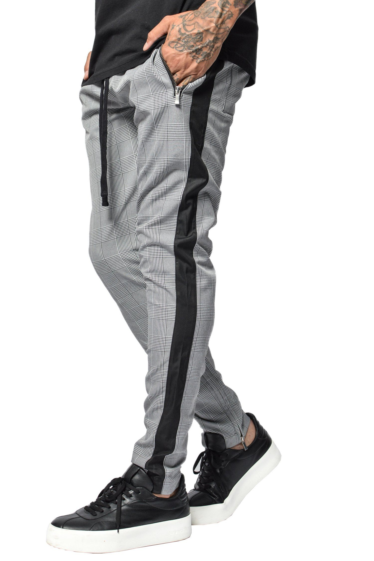 Lucio Trackpants Black/Grey Checkered PANTS PEGADOR
