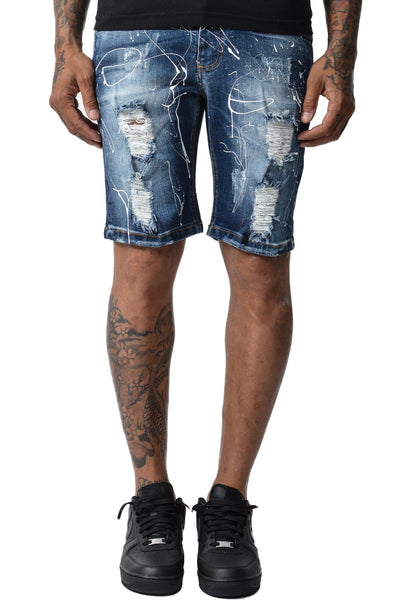 San José Splash Denim Shorts Blue