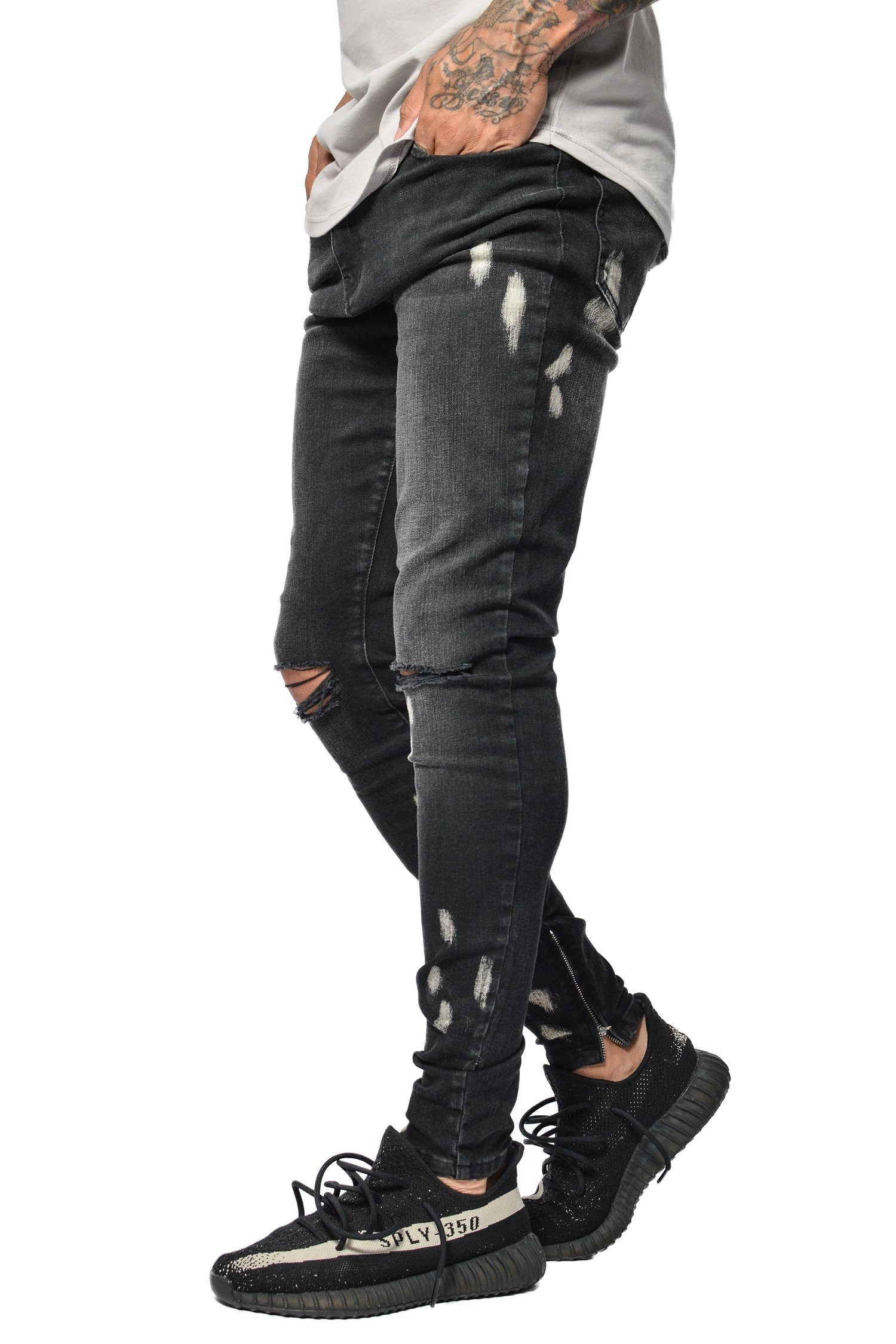 Bruno Bleached Denim Black JEANS PEGADOR