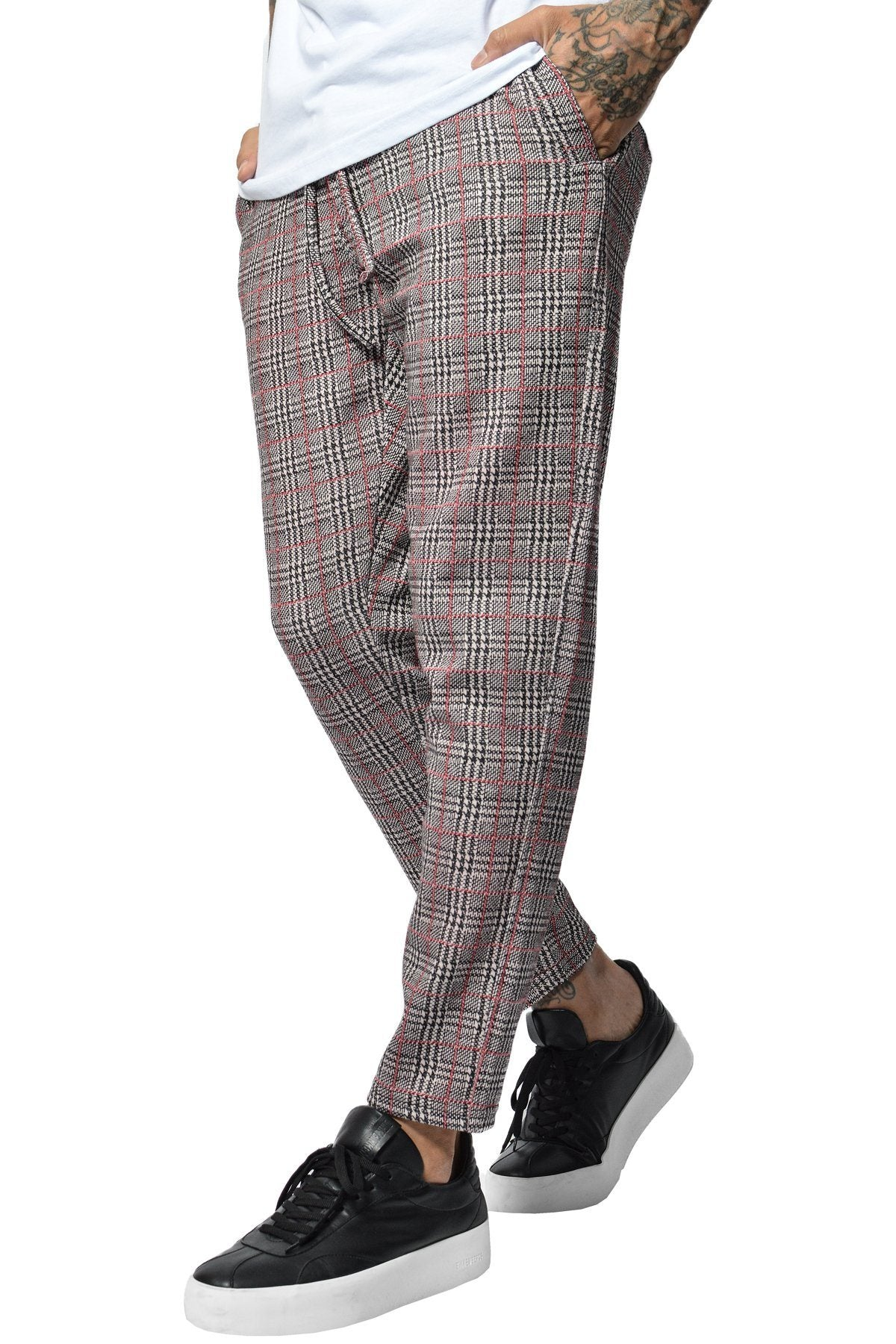 PEGADOR - Luca Checkered Pants Black White Red - PEGADOR - Dominate the Hype