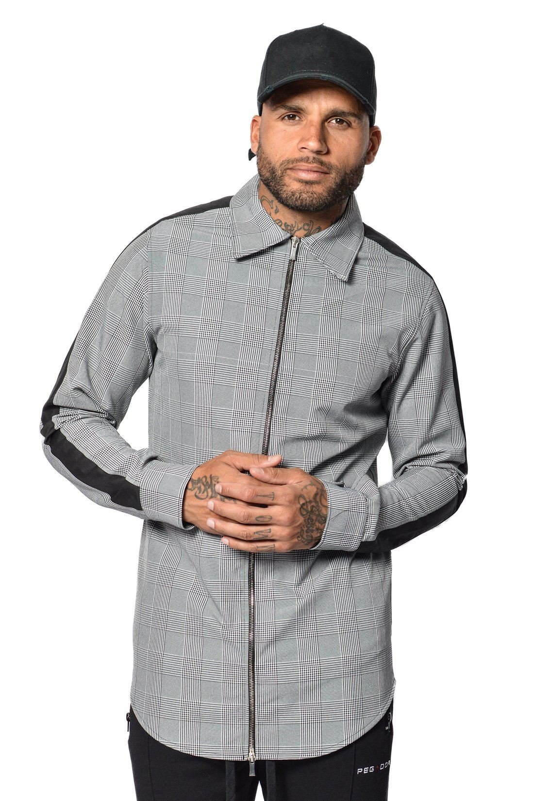 Fraco Shirt Black/Grey Checkered Shirts PEGADOR
