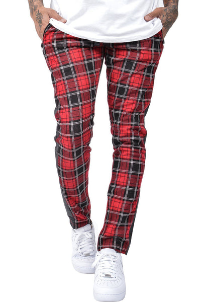 Benjamin Tartan Stripe Pants Red Black - PEGADOR - Dominate the Hype