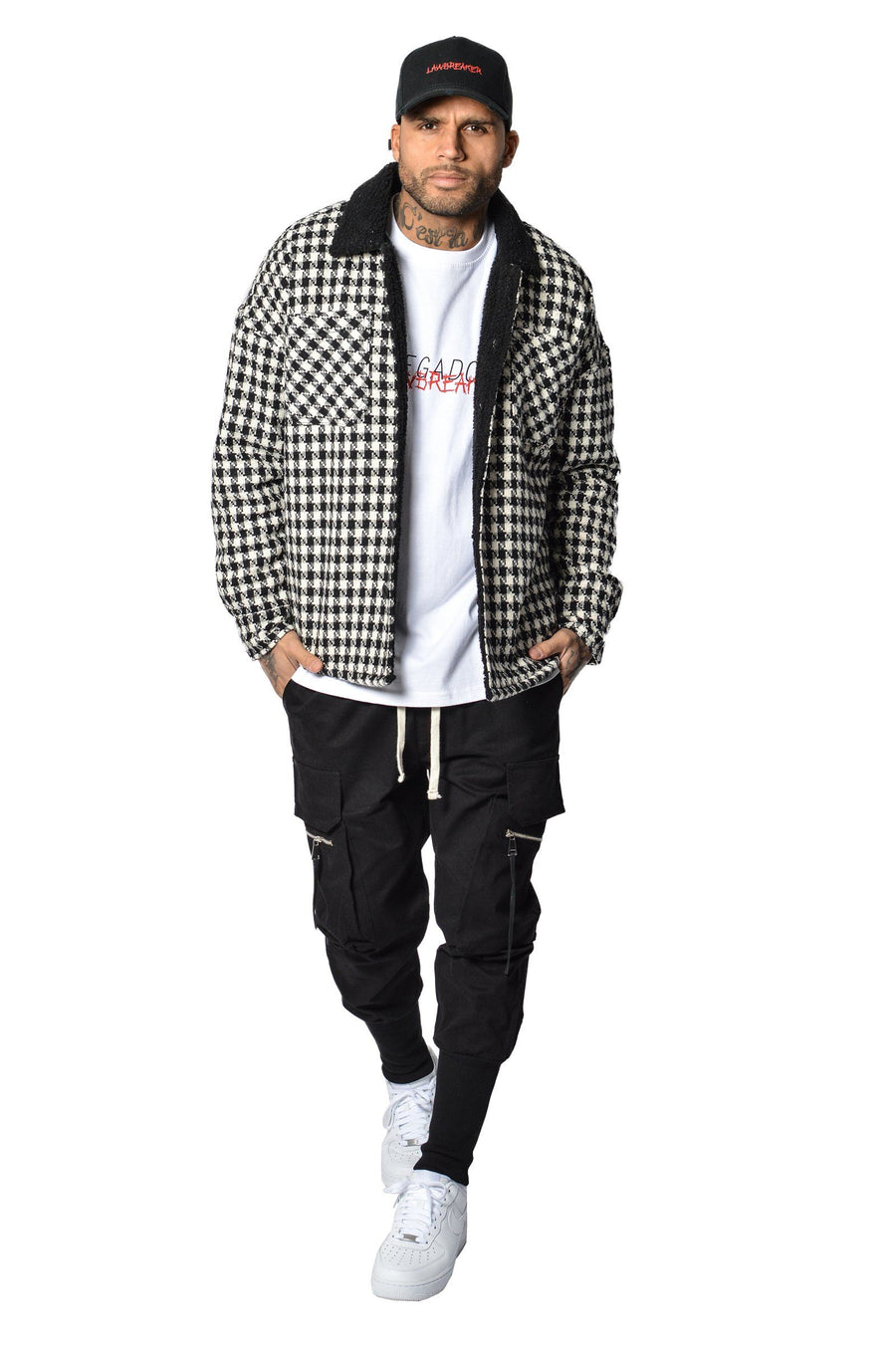 Flano shearling Jacket Black White