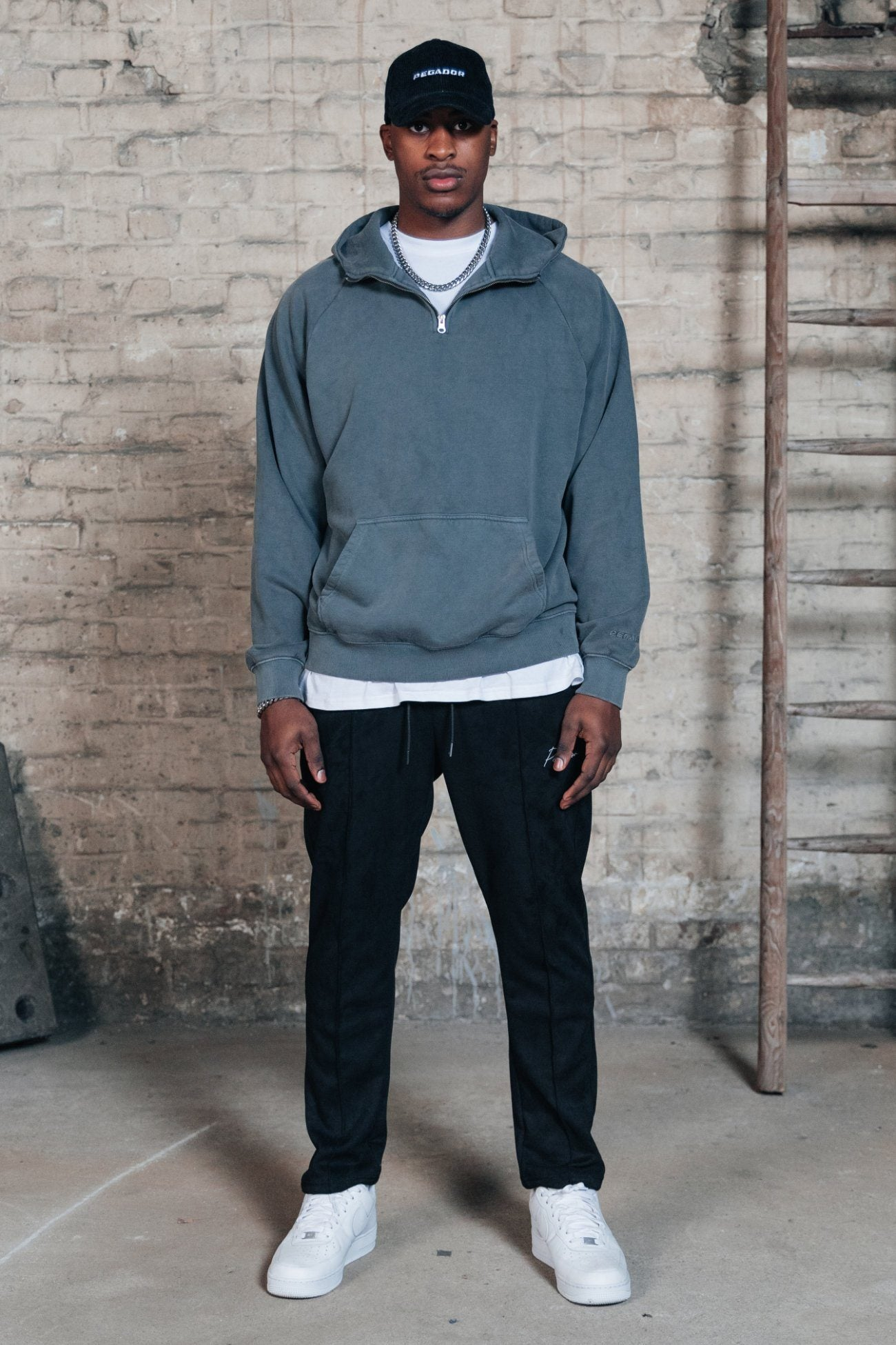 Oversized Half Zip Hoodie Washed Grey Hoodies One blood