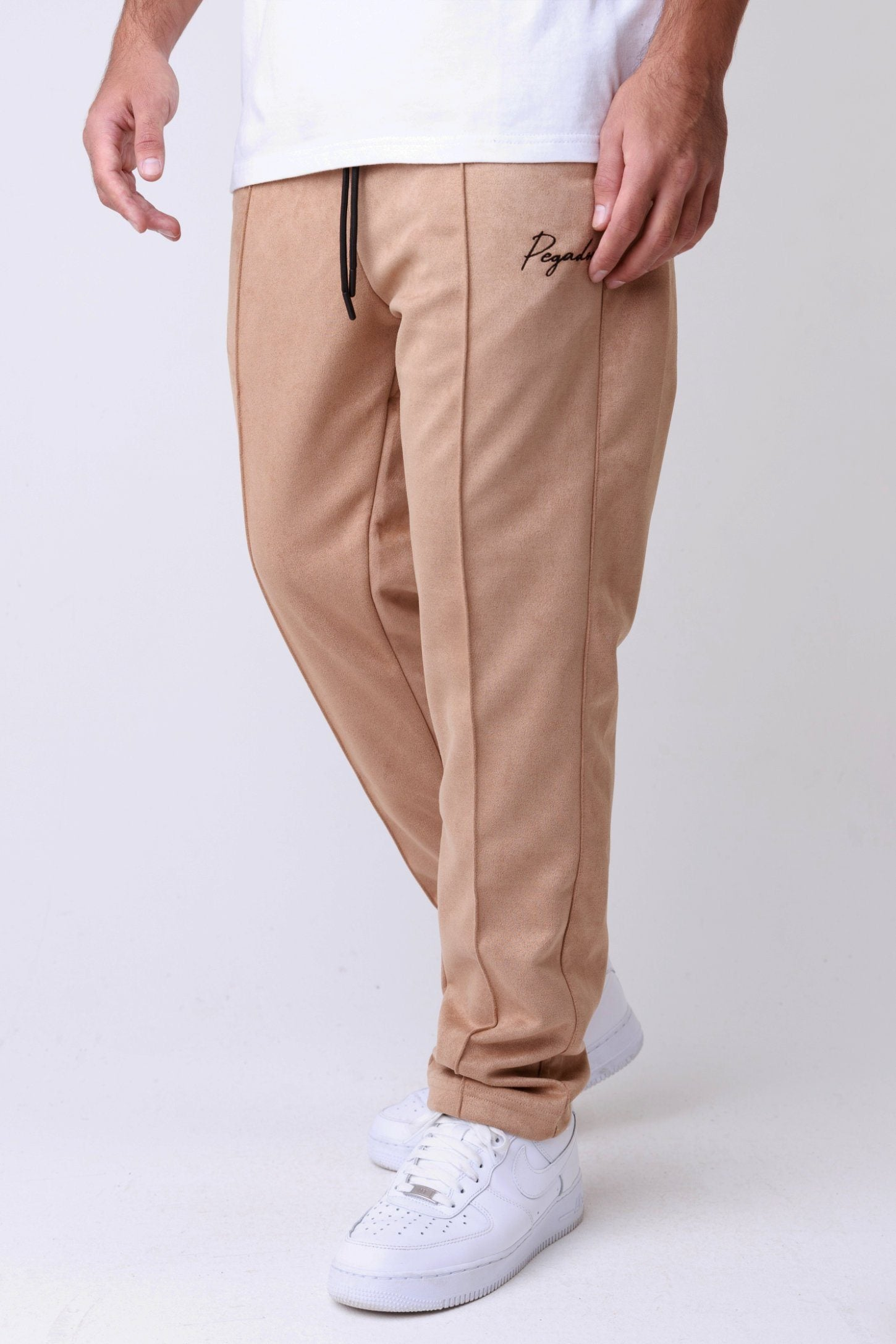 Suede Wide Pants Almond BOTTOMS One blood