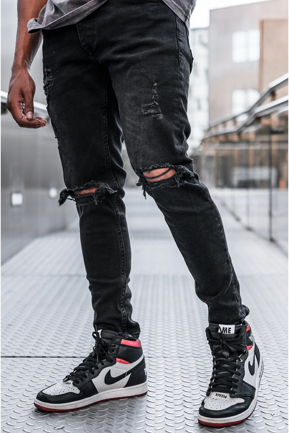 Rhine Destroyed Jeans Black Jeans PEGADOR