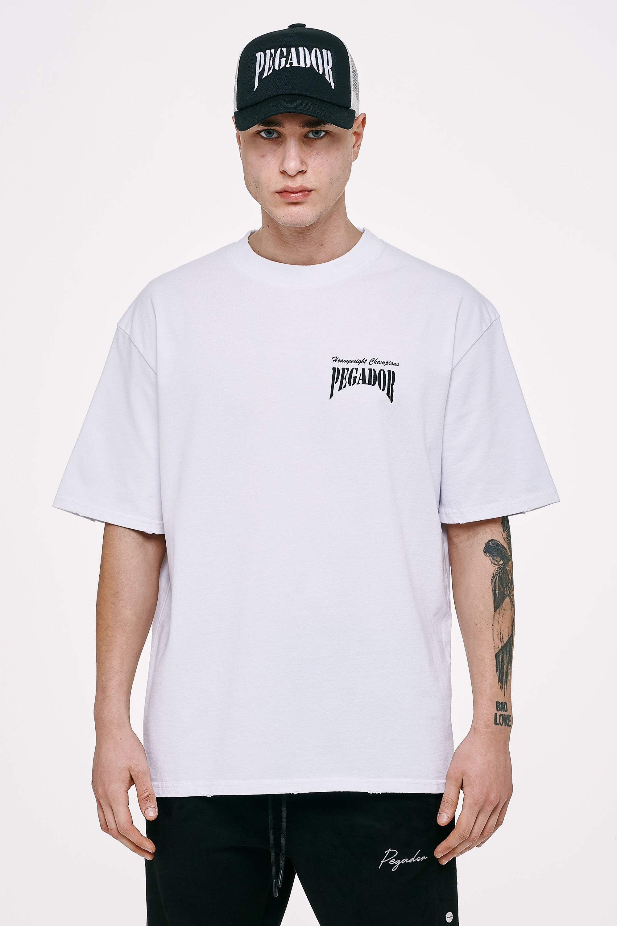 Evander Oversized Tee Vintage White T-SHIRT Heavyweight Champions